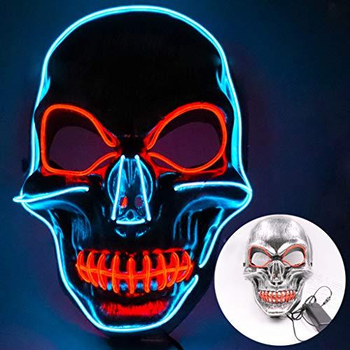 bloatboy ✅ Halloween LED Maske, Sound Reaktiv LED Maskentanz Rave Leuchten Einstellbare Maske für Halloween Fasching Karneval Party Kostüm Cosplay Dekoration (Silber)
