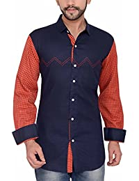 PP Shirts Men Blue Coloured Partywear Shirt With Orange Sleeves