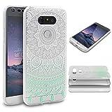 Urcover LG G5 Handy-Hülle RUNDUM-SCHUTZ Ultra Slim 360 Grad Grün Full Body Touch Case Mandala Design Schale Handy-Tasche Crystal Clear Smartphone Zubehör Cover