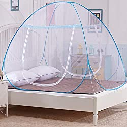 OTraki Pop Up Mosquito Net Bed Portable Folding Double Entrance Narrow Mesh Mosquito Net Travel Anti Mosquito Bites Pop UP Mobile Mosquito Net Double Bed (180 * 200 * 150 cm)