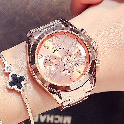 Reloj De Oro Rosa para Mujer, Calendario Impermeable, Reloj De Oro para Mujer, Reloj De Negocios Único...