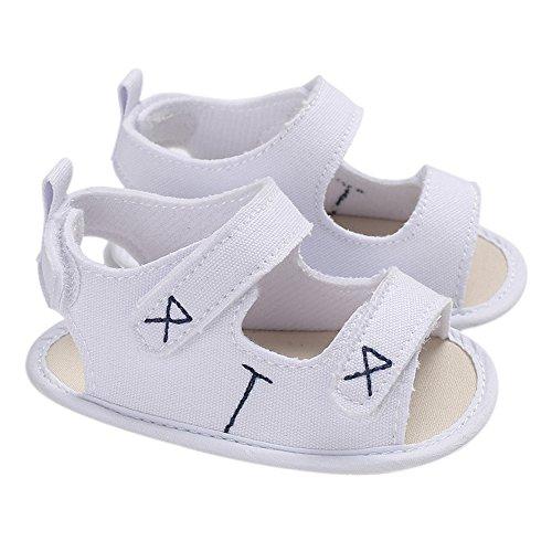 homese Zapatos para bebés Zapatos de lona Sandalia Suela blanda Antideslizante Prewalker Para recién nacido Niño pequeño Blanco 12 cm Durante 6-12 meses