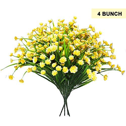 BELLE VOUS Flores Falsas Artificiales 4 pcs - Amarillos