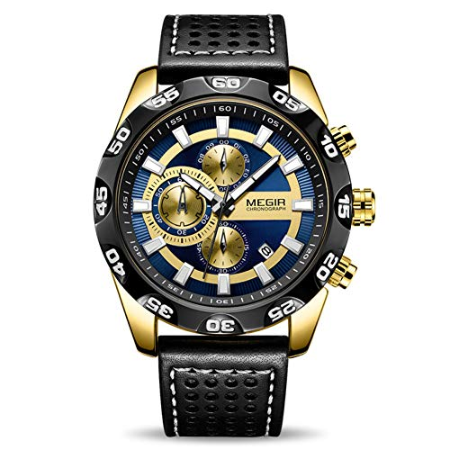 SBDONGJX Montres Hommes Top Luxe Chronographe Sport Montre À Quartz Hommes Horloge en Cuir Montres Relogio Masculino Reloj Hombre