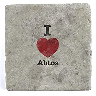 I Love Abtos - Set of Four Marble Tile Drink Coasters