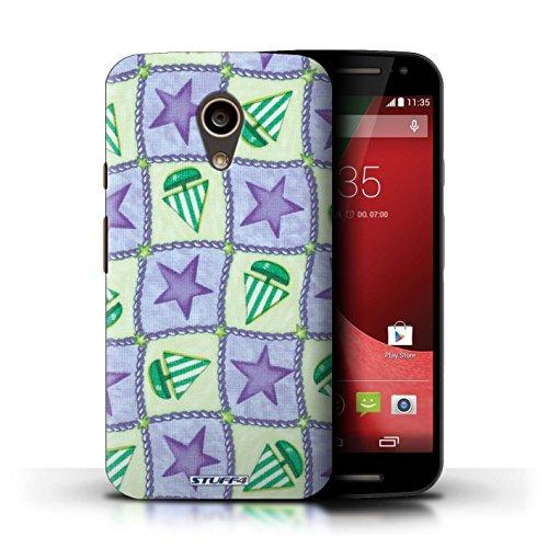 Kobalt® Imprimé Etui / Coque pour Motorola Moto G (2014) / Rouge/Vert conception / Série Bateaux étoiles Pourpre/Vert