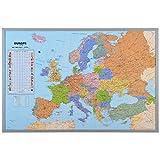 Pinnwand Weltkarte XXL - inklusive 12 Markierfähnchen - Kork - 90 x 60 cm - Europakarte