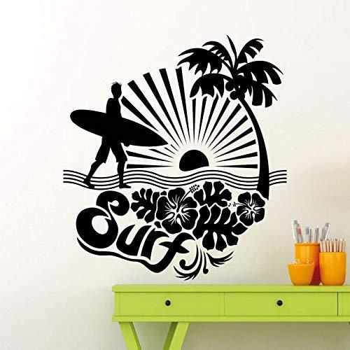 ljradj Surf Surfing Logo Avventura Mare Ocean Wall Stickers per Camera da Letto Ragazzi Decalcomanie in Vinile Soggiorno Arte Citazioni Post murales Bianco 57X57cm