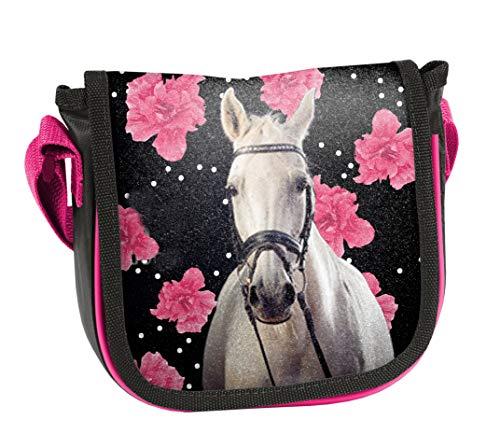 Ragusa-Trade Pferde Fan Mädchen Kinder - Handtasche Schultertasche Umhängetasche (302HR), schwarz/pink, 17 x 15 x 4 cm