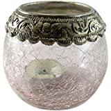 Craft In India Glass Candle Holder (11.8 Cm X 9.3 Cm X 8.2 Cm, Clear)