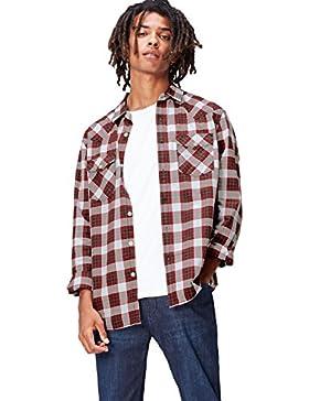 FIND Camicia in Cotone a Quadri Uomo
