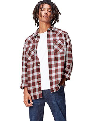 FIND Camisa de Cuadros para Hombre, Rojo (Checkered), Small