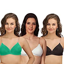 2503bb76bae Sona Backless Women Blended Lightly Padded Bra With Transparent Back Strap  Green