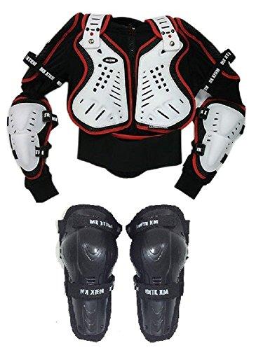 Motorrad Körper Rüstungen XTRM Kids Offroad Motocross Motorrad Körperpanzer Rot + Klapp Knie 12 Jahre Schwarz