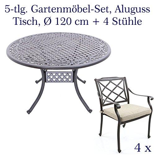 Hanseatisches Im- & Export Contor GmbH Meubles de Jardin en Fonte  d\'aluminium, Meubles de Jardin Comprenant Table de Jardin Ø 120 cm 4  Gartenstühle ...