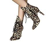 TianWlio Stiefel Frauen Winter Schuhe Stiefeletten Boots Mode Leopard Schuhe Drucken Spitzzehe Wildleder Feine Ferse Martin Stiefel