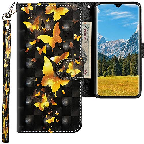 CLM-Tech Hülle kompatibel mit Huawei P30 - Tasche aus Kunstleder - Klapphülle mit Ständer und Kartenfächern, Schmetterlinge Gold schwarz -