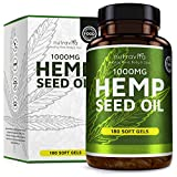 Hemp Seed Oil 1000mg Supplement 180 Soft Gel Capsules   Pure Cold Pressed
