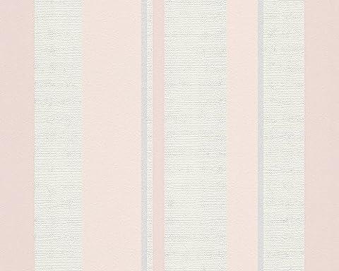 Schöner Wohnen Vliestapete Tapete Streifentapete 10,05 m x 0,53 m metallic rosa weiß Made in Germany 304051