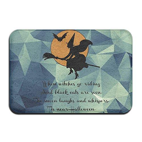 (Hexen Reiten Happy Halloween Cool Fußmatte ENTRANCE Mat Fußmatte/Front Tür/Bad-Teppich Matten Gummi rutschfeste, Mikrofaser Gummi, weiß, Einheitsgröße)