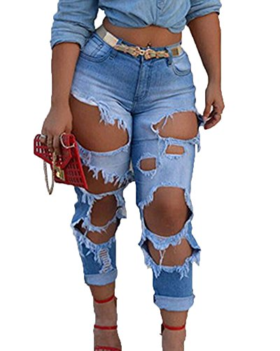 Damen High Waist Jeans Zerrissen Skinny Jeanshose Stretchhose Lässige Hose Hellblau XL