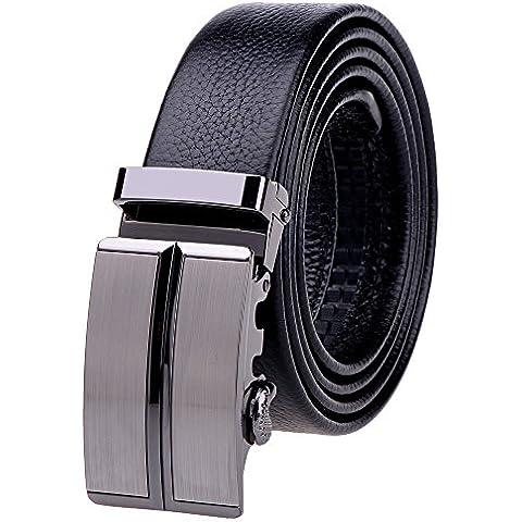 Vbiger Hombre Cinturón de Cuero Hebilla Automática Cinturon Genuino Nivel Superior