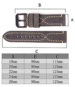 Correa para hombres y mujeres con correa de reloj de cuero de alta calidad Correa para reloj de repuesto genuina con relieve en relieve con hebilla inoxidable 14mm 16mm 18mm 20mm 22mm 24mm 26mm por mysunny
