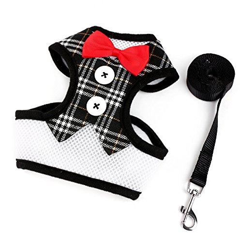 (Weihnachtskostüm Haustier Katze Hunde Anzug mit Kappe Santa Claus Kostüm Hoodie Samt Mantel Jumpsuit Kleiner Hund Kleidung (S (Rückenlänge 11.8 '', Gewicht 6.6-8.8lb), Weste schwarz kariert))
