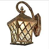 MICHEN Geführte europäische Retro- Wandlampe im Freien wasserdichtes Licht Garten führte kreative Wandlampe des Fischnetzes,Brass,185 * 245 * 350mm