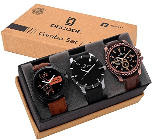 Decode Analogue Black Dial Boy's & Men's Combo Of 3 Watch (Combo...