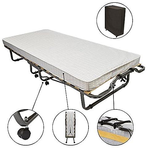 Beautissu Gästebett klappbar Venetia 90x200 cm stabiler Metall-Rahmen - Klapp-Bett inkl. Matratze und Schutzhülle