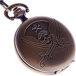 Pocket Watch Quartz Pirates Carribean Skull Dagger Motif Bronze Case Arabic Numerals with Chain Full Hunter PW-52