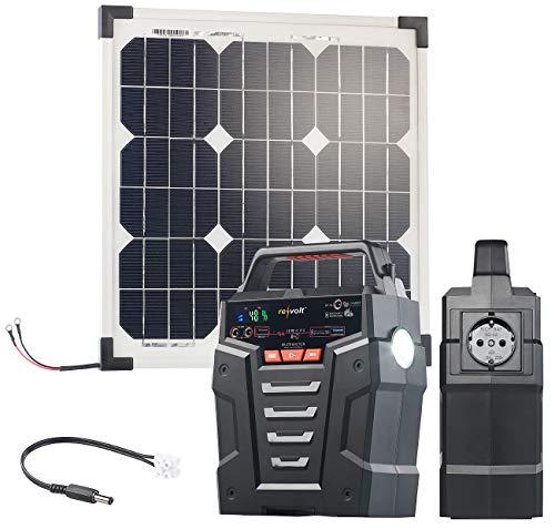 revolt Mobile Steckdose: Solar-Generator & Powerbank mit 20-W-Solarzelle & Anschlusskabel, 75Ah (Solar-Konverter mit Panels)