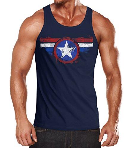Neverless Herren Tank-Top Amerika Flagge Stern Roger Captain Muskelshirt Muscle Shirt Navy S