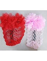 Dulce bebé niña accesorios para el cabello con gasa encaje pelo flor Headband(2 pcs a set)