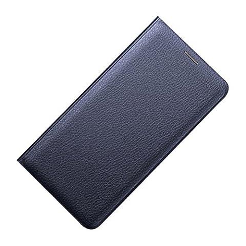 Coque Housse Flip PU Portefeuille En Cuir Téléphone à Rabat Couverture Cas - Bleu, pour Samsung Galaxy S6 edge