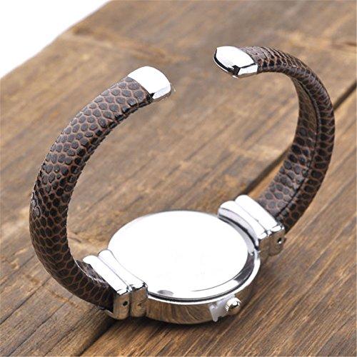 JSDDE Uhren,Damen Armbanduhr Chic Manschette Rund Damenuhr Spangenuhr Schlage Haut Band Armbanduhr Quarzuhr(Kaffee) - 3