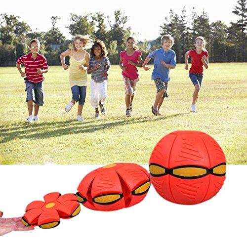 ngs-Ball-Fußball-magisches Fliegen-Fußball-flach Wurf-Ball-Spielzeug-Spiel BU (Rot) (Fußball-wurf-spiel)