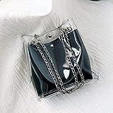 Rucksack,Rucksack/Daypack Rucksack Mädchen Jungen & Kinder Damen Herren Schulrucksack,Frauen kleine transparente Eimer Taschen Kette Tasche Totes Compound Mini Bag(Schwarz)
