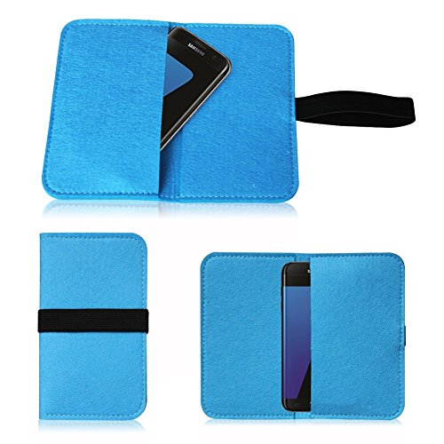 Universal Smartphone Cover Handytasche Case Schutzhülle Sleeve Filztasche mit Kartenfach verschiedenen Farben von UC-Express®, Farbe:Türkis;Smartphone:Huawei Nova