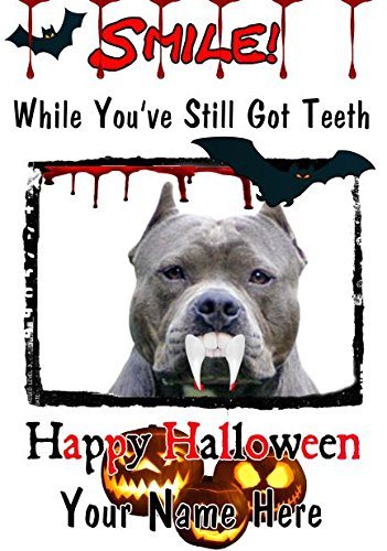 American Pit Bull Terrier Hund A5personalisierbar Grußkarte Halloween Zähne Smile C11Spooky waagr