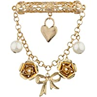 Lux accessori oro e perla nastro fiore cuore catena spilla