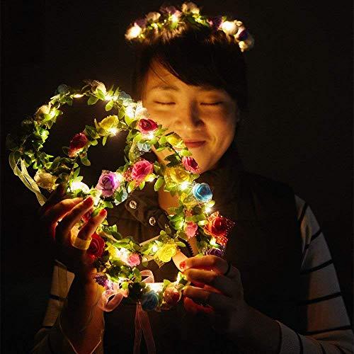 Yukio BeautyBox - LED Blumen Kranz Stirnband - Kronen Blumengirlande Boho für Festival Hochzeit, Kranz Kopfschmuck mit LED Dekor