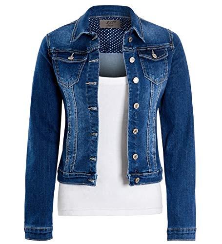 SS7 Damen ausgestattet Jeansjacke Stretch Indigo Blue Jean Jacken -