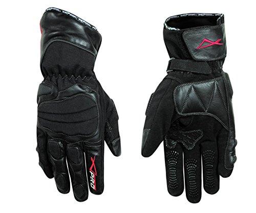 A-Pro Textil guanti in pelle per motocicletta e scooter, impermeabili, con imbottitura spessa, colore nero, taglia L