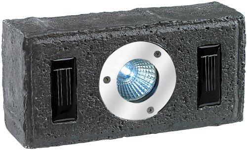 Lunartec Solar-Pflasterstein mit LED-Strahler & Dämmerungs-Sensor, grau
