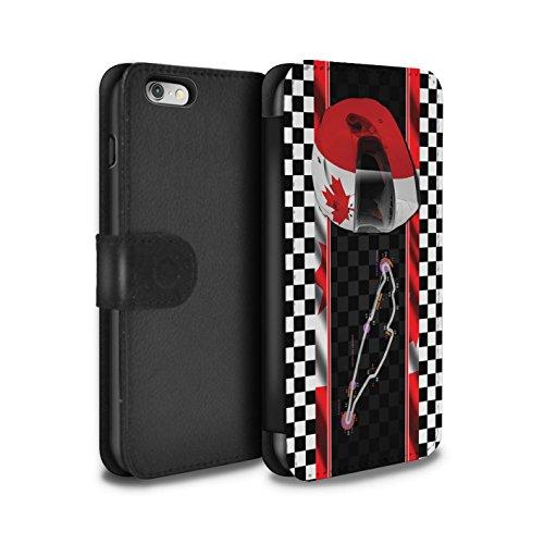 STUFF4 PU-Leder Hülle/Case/Tasche/Cover für Apple iPhone 6 / Italien/Monza Muster / F1 Piste Flagge Kollektion Kanada/Montréal