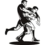 Rugby deportes y pasatiempos abordar pared pegatinas etiqueta arte de pared 02 - 50cm Altura - 50cm Ancho - Negro Vinilo