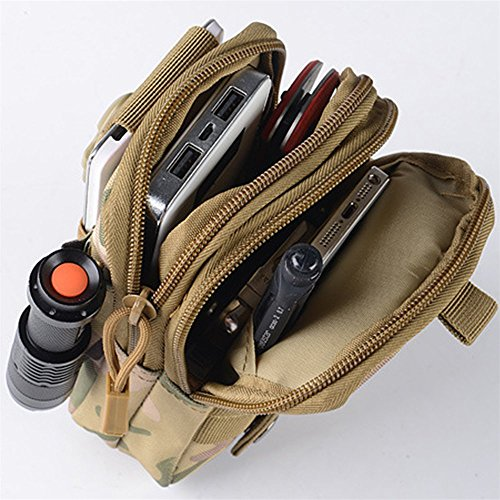 Tactical Waist Pack, Homeself MOLLE EDC Pouch Tactical Compact Utility Pouch für Outdoor Wandern Camping Radfahren mit extra Aluminium Karabiner Coyote Brown