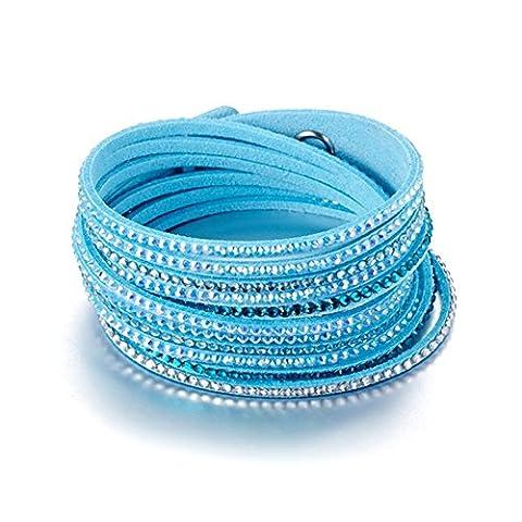 Bracelet Blue Pearls - Bracelet 3 Rangs Cristaux Bleus et Blancs